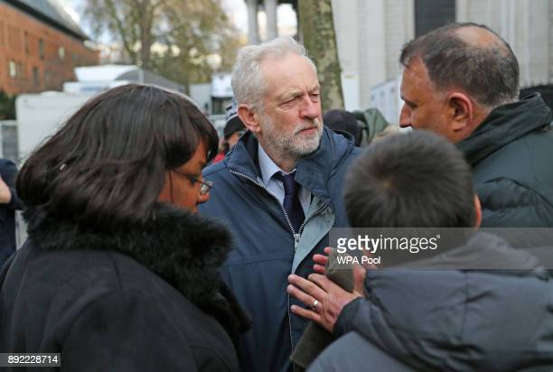 Labour Party leader Jeremy Corbyn and shadow home secretary Diane Abbott speak to people after the Grenfell Tower National Memorial Service held at...