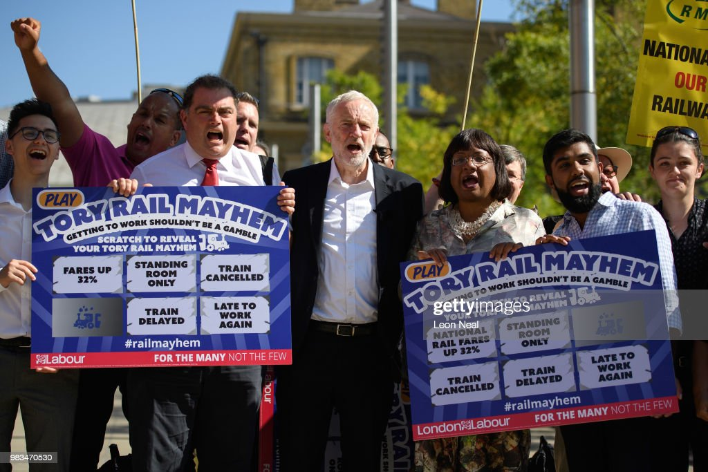 Labour Party Leader Campaigns For Rail Franchises To Be Taken Into Public Ownership