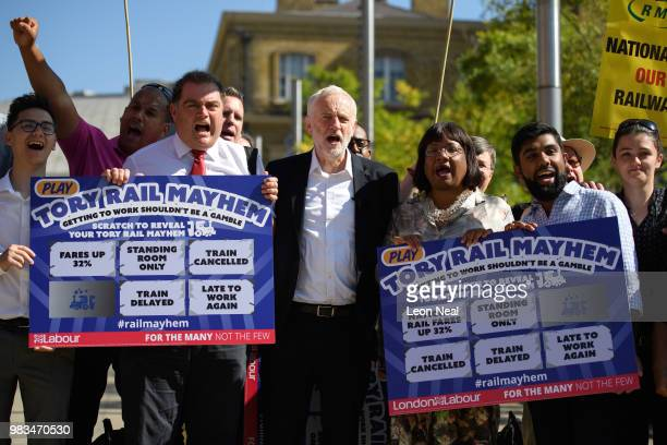 Labour Party leader Jeremy Corbyn and shadow Home Secretary Diane Abbott are seen during a demonstration calling for the renationalisation of the...