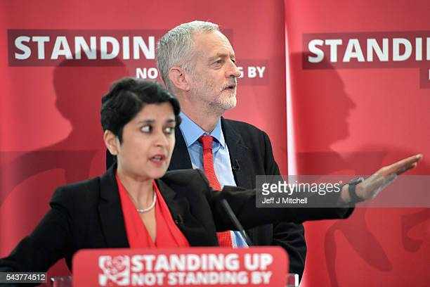 Labour Party Leader Jeremy Corbyn and Shami Chakrabarti attend the Anti Semitism inquiry findings at Savoy Place on June 30 2016 in London EnglandThe...