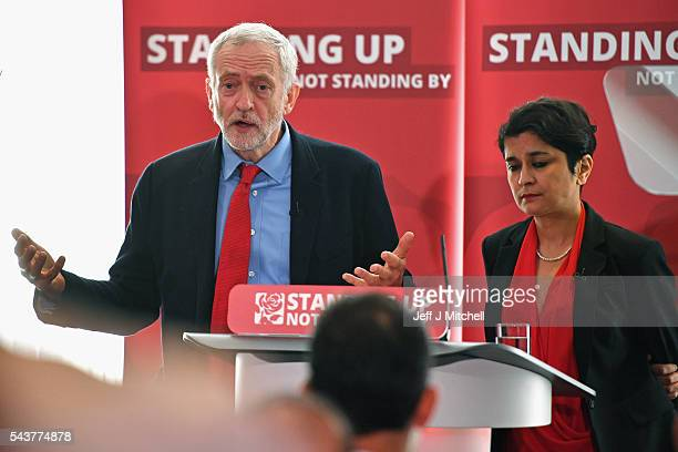 Labour Party Leader Jeremy Corbyn and Shami Chakrabarti attend the antisemitism inquiry findings at Savoy Place on June 30 2016 in London EnglandThe...