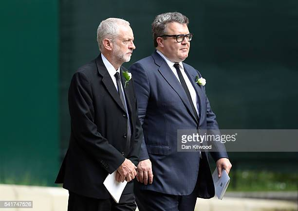 Labour party leader Jeremy Corbyn and Tom Watson Deputy Leader of the Labour Party depart St Margaret's church on June 20 2016 in London England...
