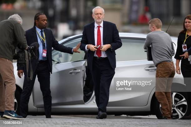Labour Party leader Jeremy Corbyn arrives for an appearance on the Andrew Marr politics programme near the ACC Liverpool during the first day of the...