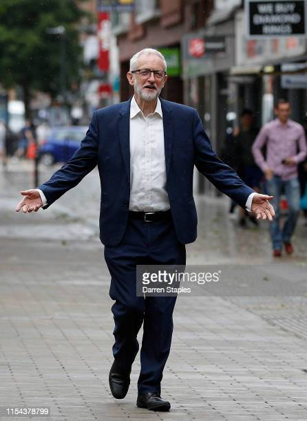 Labour Party leader Jeremy Corbyn arrives to congratulate new MP Lisa Forbes after her victory in the Peterborough Byelection on June 07 2019 in...
