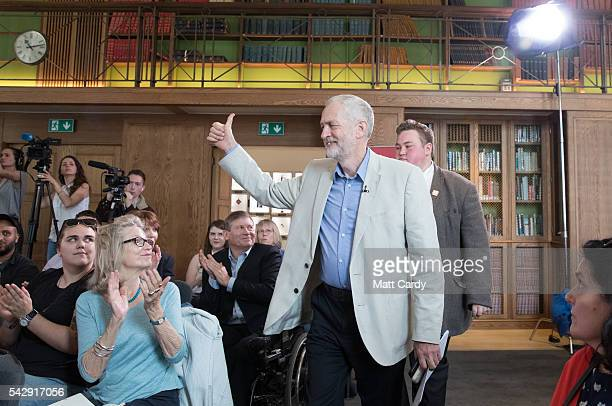 Labour Party leader Jeremy Corbyn arrives to give a post Brexit speech at the Maxwell Library in central London on June 25 2016 in London England...