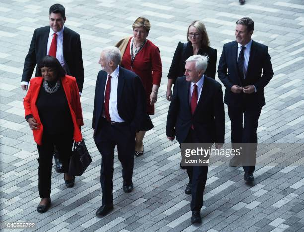 Labour Party leader Jeremy Corbyn arrives with members of his Shadow Cabinet to give his keynote address to delegates on day four of the Labour Party...