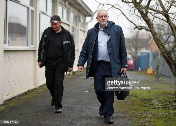 Labour party leader Jeremy Corbyn arriving to meet NHS staff at Park South Community Centre in Swindon to talk about the NHS winter crisis