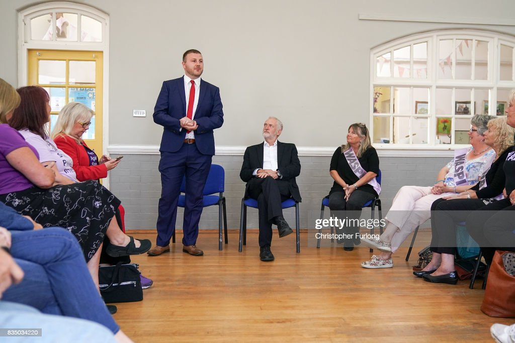 Labour Party Leader Jeremy Corbyn (C) attends a meeting with members of the Women Against State Pension Inequality Campaign (WASPI) at Cleveleys Community Centre on August 18, 2017 in Blackpool, England. Jeremy Corbyn is touring the UK visiting marginal seats.
