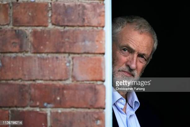 Labour Party leader Jeremy Corbyn attends a rally at Voluntary Action Broxtowe on February 23 2019 in Beeston England Beeston is the constituency of...