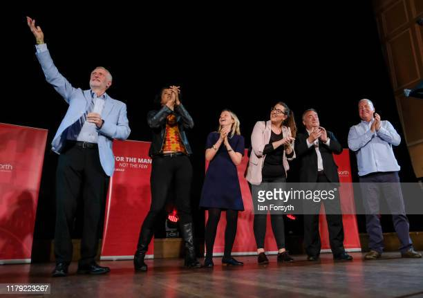 Labour Party leader Jeremy Corbyn celebrates on stage after he delivers a speech at a campaign rally at Newcastle City Hall on October 05 2019 in...