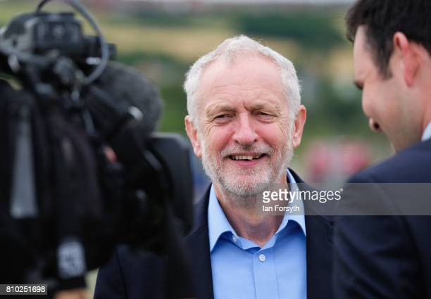 Labour Party leader Jeremy Corbyn conducts a media interview as he visits the British Steel manufacturing site to tour the facility and meet staff on...
