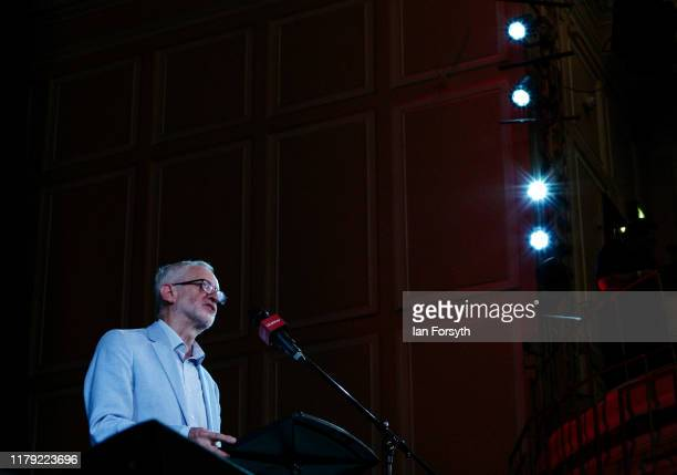 Labour Party leader Jeremy Corbyn delivers a speech as he attends a campaign rally at Newcastle City Hall on October 05 2019 in Newcastle upon Tyne...