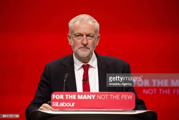 Labour Party leader Jeremy Corbyn delivers his keynote speech to delegates and members of the Labour Party on the annual conference at the Brighton...