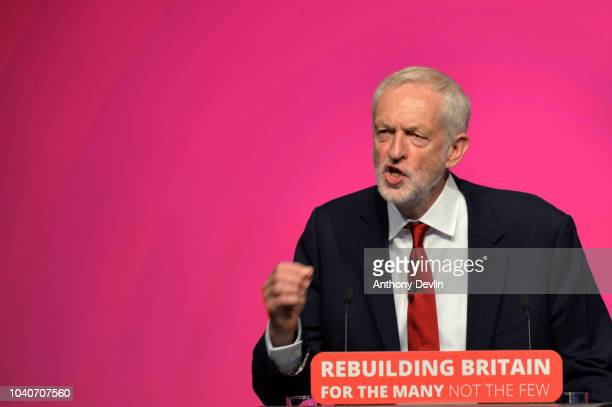 Labour Party leader Jeremy Corbyn delivers the keynote speech during the Labour Party annual conference on September 26 2018 in Liverpool England The...