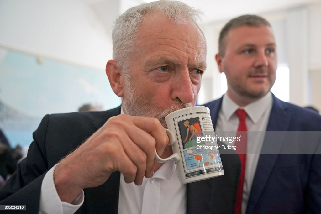 Labour Party Leader Jeremy Corbyn, drinks tea, after talks with members of Women Against State Pension Inequality Campaign (WASPI) during his visit to Cleveleys Community Centre on August 18, 2017 in Blackpool, England. Jeremy Corbyn is touring the UK visiting marginal seats.