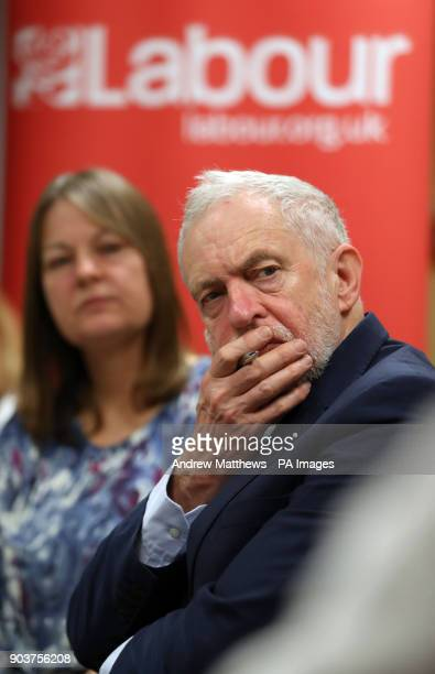 Labour party leader Jeremy Corbyn during a meeting with NHS staff at Park South Community Centre in Swindon to talk about the NHS winter crisis