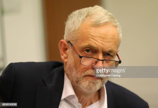 Labour party leader Jeremy Corbyn during a visit to Birmingham Carers Hub to launch Labour's proposed Carer's Allowance increase on April 18 2017 in...