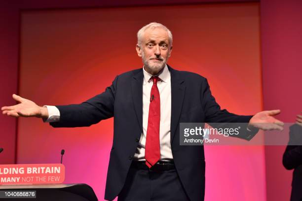 Labour Party leader Jeremy Corbyn gestures after delivering the keynote speech during the Labour Party annual conference on September 26, 2018 in...