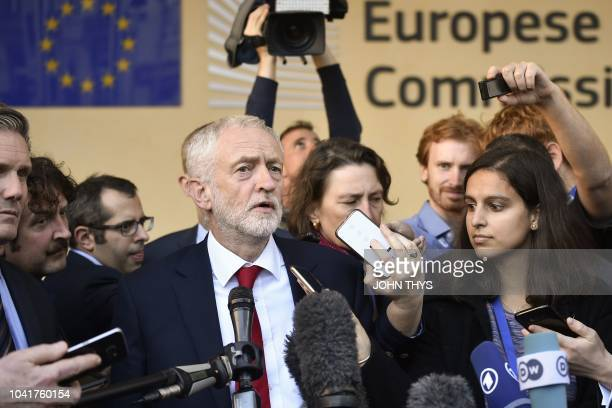 Labour Party leader Jeremy Corbyn gives a press conference after the meeting with senior EU officials in Brussels after warning he may oppose any...