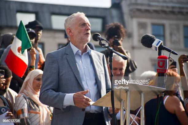 Labour Party leader Jeremy Corbyn gives a speech during a rally against the US President Donald Trumps visit to the UK including a giant inflatable...