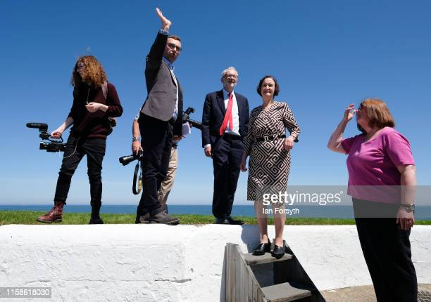 Labour Party Leader Jeremy Corbyn is given a tour as he meets military personnel at the Heugh Battery Museum on Hartlepool Headland as he announces a...
