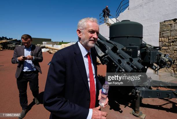 Labour Party Leader Jeremy Corbyn is given a tour of the museum as he meets military personnel at the Heugh Battery Museum on Hartlepool Headland as...