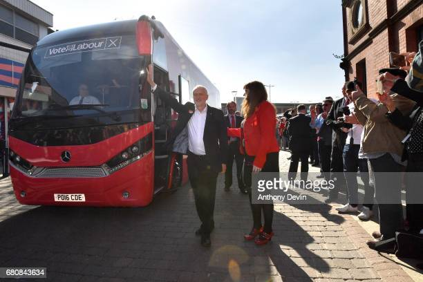 Labour Party leader Jeremy Corbyn is greeted by local candidate Angela Rayner as he arrives to meet supporters at the market in AshtonUnderLyne...
