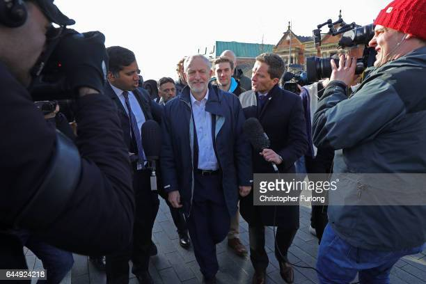 Labour Party leader Jeremy Corbyn is mobbed by television reporters during a visit to StokeOnTrent after last nights victory in the byelection on...