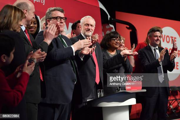 Labour Party leader Jeremy Corbyn joins memebers of the Shadow Cabinet on stage after speaking at the Labour Party general election campaign launch...