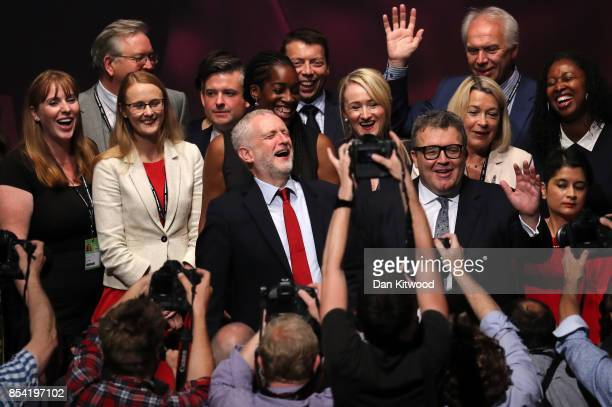Labour party leader Jeremy Corbyn laughs as Shadow Secretary of State for Education Angela Rayner Deputy Labour party leader Tom Watson and Shadow...
