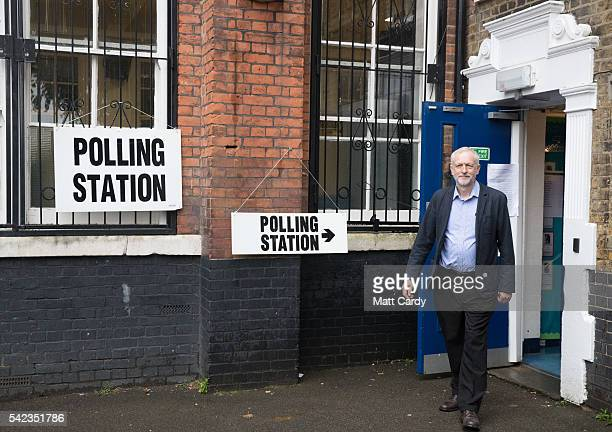 Labour Party leader Jeremy Corbyn leaves after casting his vote at a polling station at Pakeman Primary School in Islington on June 23 2016 in London...