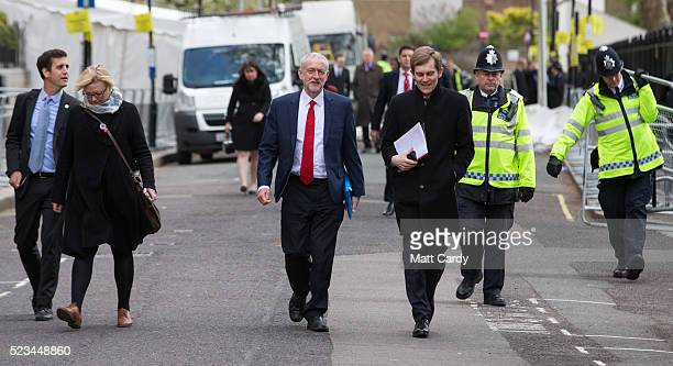 Labour Party leader Jeremy Corbyn leaves after meeting with US President Barack Obama after he spoke at the Royal Horticultural Halls on April 23,...