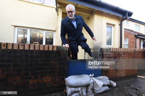 Labour Party leader Jeremy Corbyn leaves after visiting a resident whose home was flooded on February 20 2020 in Pontypridd Wales Residents and...