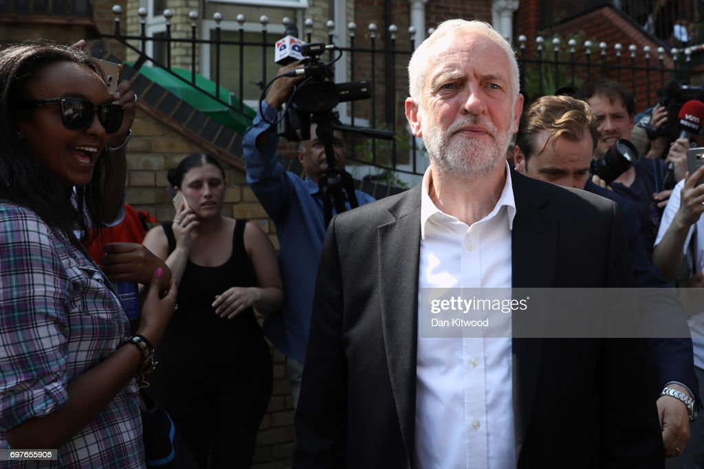 Labour Party leader Jeremy Corbyn leaves Finsbury Park mosque near the scene of a terror attack in the early hours of this morning, on June 19, 2017 in London, England. Worshippers were struck by a hired van as they were leaving Finsbury Park mosque in North London after Ramadan prayers. One person was killed in the terror attack with a further 10 people injured.