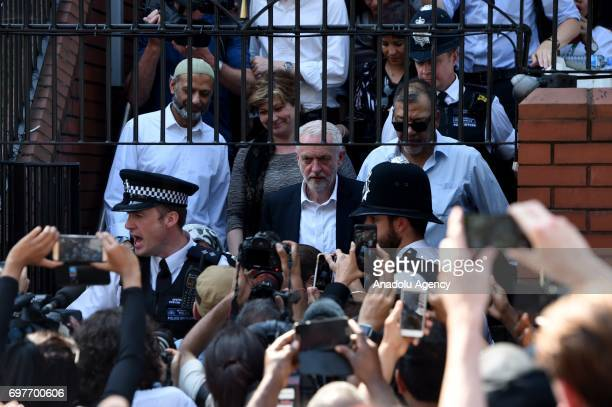 Labour Party leader Jeremy Corbyn leaves Finsbury Park mosque near the scene of a terror attack that happened in the early hours of this morning on...