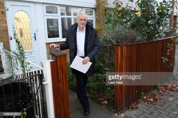 Labour Party leader Jeremy Corbyn leaves his home as he heads to the Sky News studios to appear on the Sophy Ridge on Sunday political news programme...