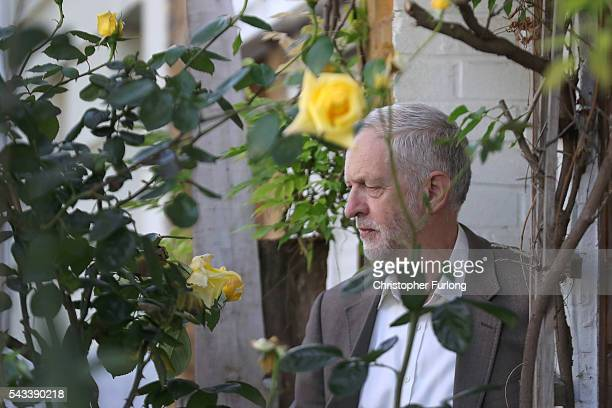 Labour Party Leader Jeremy Corbyn leaves his home in London on June 28 2016 in London England After a raft of shadow cabinet resignations Labour MP's...