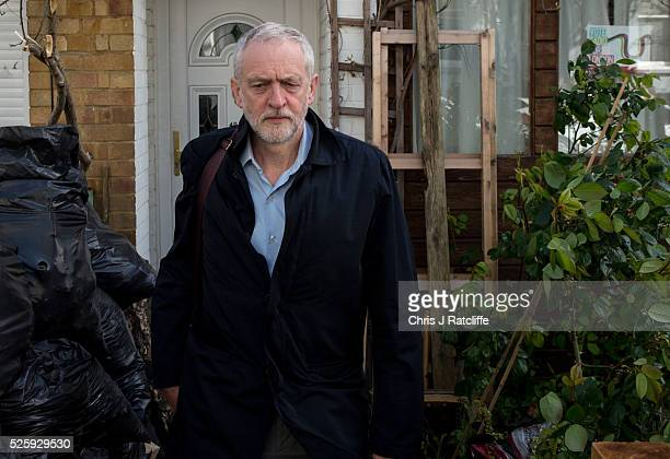 Labour party leader Jeremy Corbyn leaves his home in the morning on April 29 2016 in London England Mr Corbyn has denied that his party is in crisis...