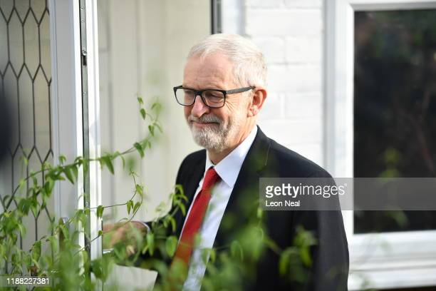 Labour Party leader Jeremy Corbyn leaves his home on December 13 2019 in London England The Conservative Party have realised a decisive win in the UK...