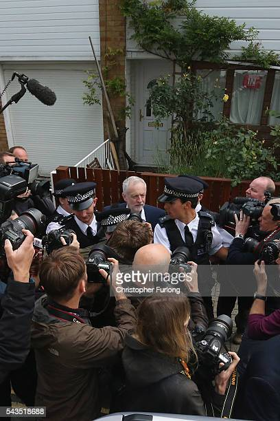 Labour Party Leader Jeremy Corbyn leaves his home on June 29 2016 in London England Mr Corbyn is facing a crisis within his party after losing a vote...