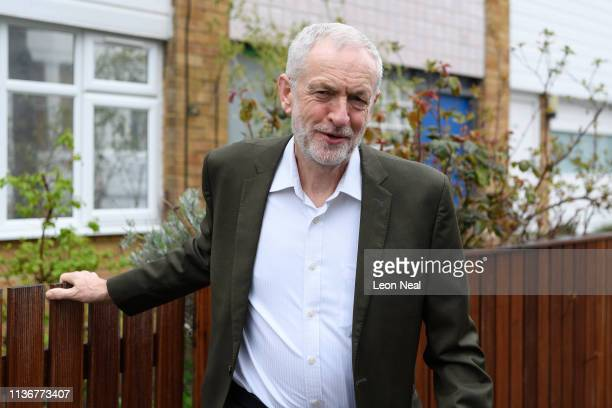 Labour Party leader Jeremy Corbyn leaves his home on March 19 2019 in London England It is thought that he will meet with MPs to discuss finding a...