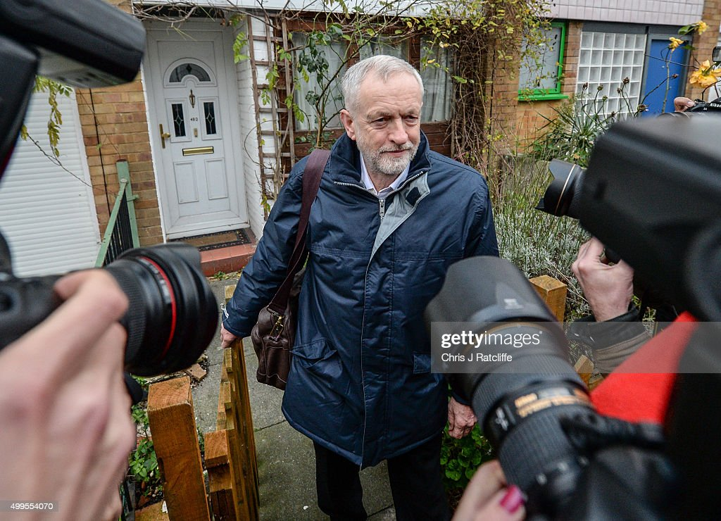 Labour party leader Jeremy Corbyn leaves his home to attend the House of Commons on December 2, 2015 in London, England. British MPs are expected to vote tonight on whether to back UK airstrikes on Islamic State targets in Syria, following a 10-hour long debate.