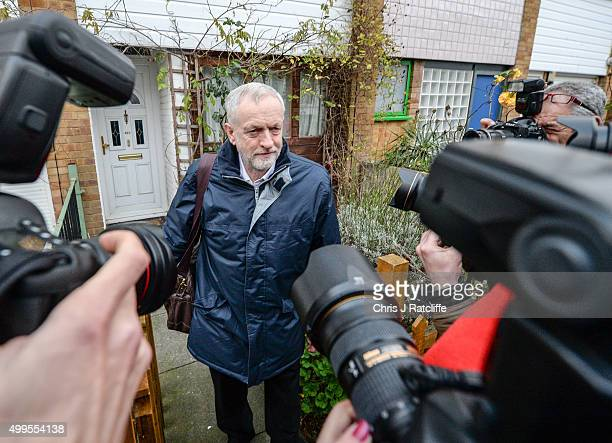 Labour party leader Jeremy Corbyn leaves his home to attend the House of Commons on December 2 2015 in London England British MPs are expected to...
