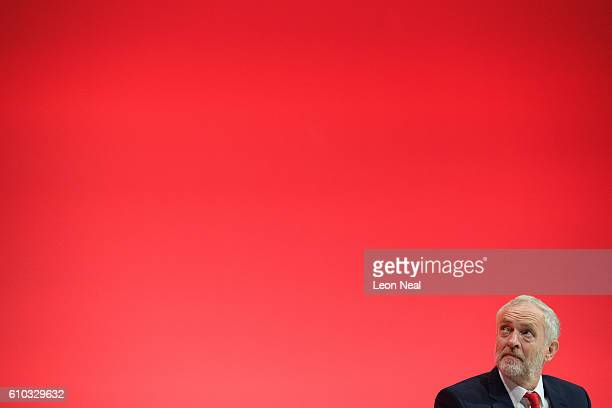 Labour Party leader Jeremy Corbyn listens to speakers on the first day of the Labour Party Conference the Exhibition Centre Liverpool on September 25...
