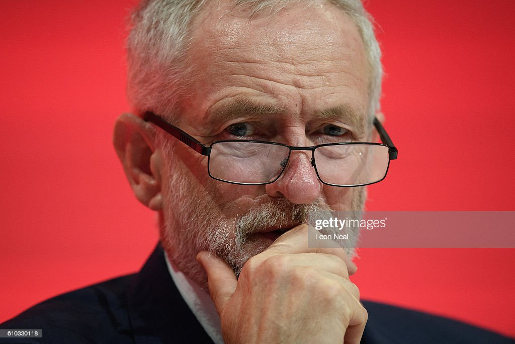 Labour Party leader Jeremy Corbyn listens to speakers on the first day of the Labour Party Conference the Exhibition Centre Liverpool on September 25, 2016 in Liverpool, England. Party leader Jeremy Corbyn will hope to re-unite the party after being re-elected leader yesterday.