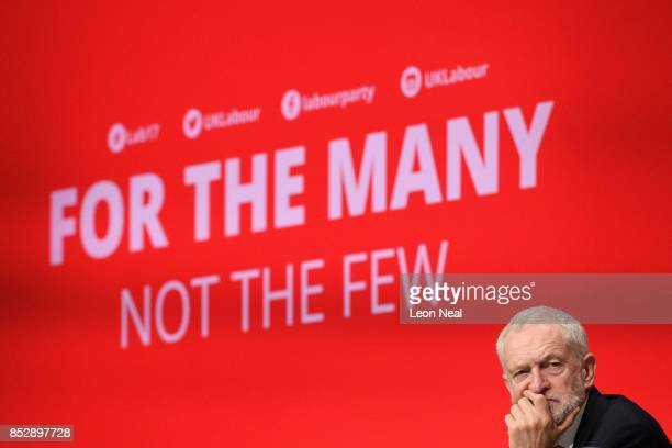 Labour Party leader Jeremy Corbyn listens to speeches in the main hall on the first day of the Labour Party conference on September 24 2017 in...