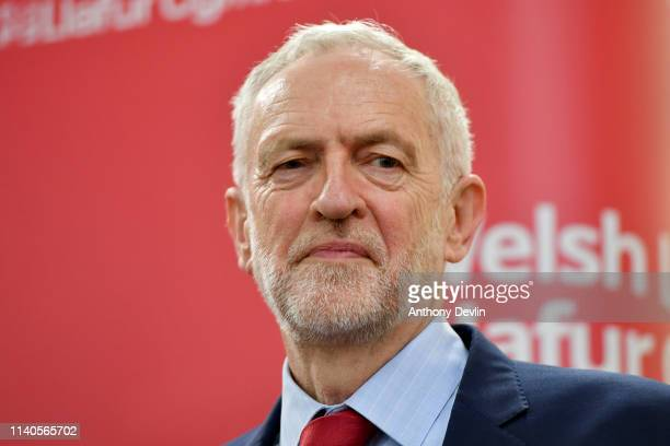 Labour party leader Jeremy Corbyn lookson as Ruth Jones the new MP for Newport West speaks on stage on April 05 2019 in Newport Wales The Newport...