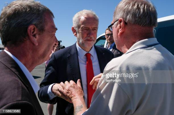 Labour Party Leader Jeremy Corbyn meets a supporter as he leaves the Heugh Battery Museum on Hartlepool Headland after meeting with military...