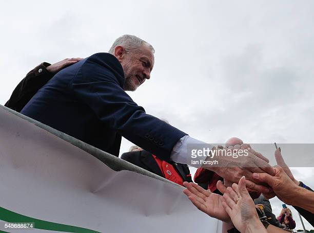Labour Party leader Jeremy Corbyn meets enthusiastic supporters after his speech at the 132nd Durham Miners Gala on July 9 2016 in Durham England...