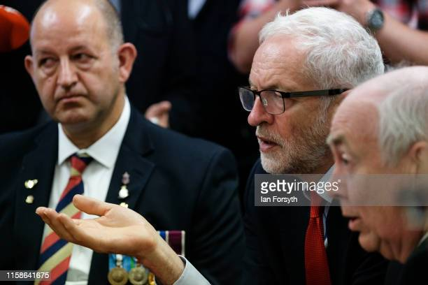 Labour Party Leader Jeremy Corbyn meets former military personnel at the Heugh Battery Museum on Hartlepool Headland as he announces a package of...